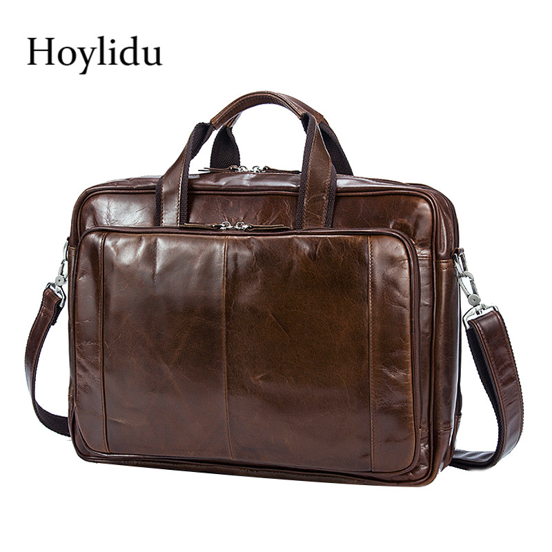 Men's Genuine Leather Business Briefcase Vintage Shoulder Bags Large Capacity Travel Messenger Bag For 14-inch Laptop Handbags все цены