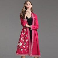 Высокое качество Новый 2019 Весна Лето модный длинный кардиган куртки Женская Роскошная вышивка с длинным рукавом винтажное длинное пальто ж