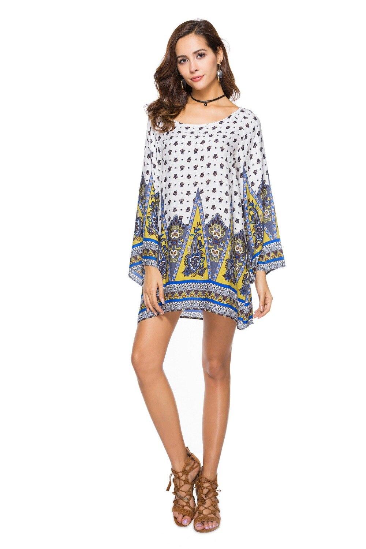 2019 Plus Size 3XL WOMEN Clothing 2018 Summer Long Sleeve Beach Mini ... 19ea19a1c728