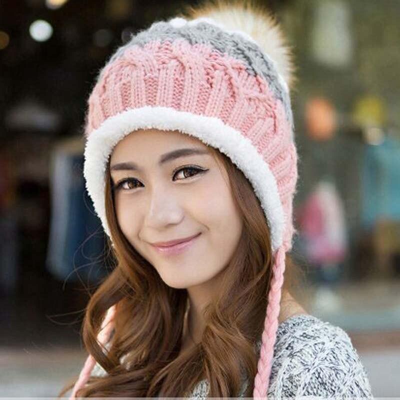 Lovely hat for women add wool   beanie   knitted cap to keep warm gorro masculino gorros in winter hat earmuffs cap bone   Skullies