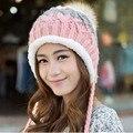Precioso sombrero para las mujeres añaden lana beanie gorro de punto para mantener cálido gorro Skullies gorros de invierno orejeras del casquillo del sombrero masculino de hueso