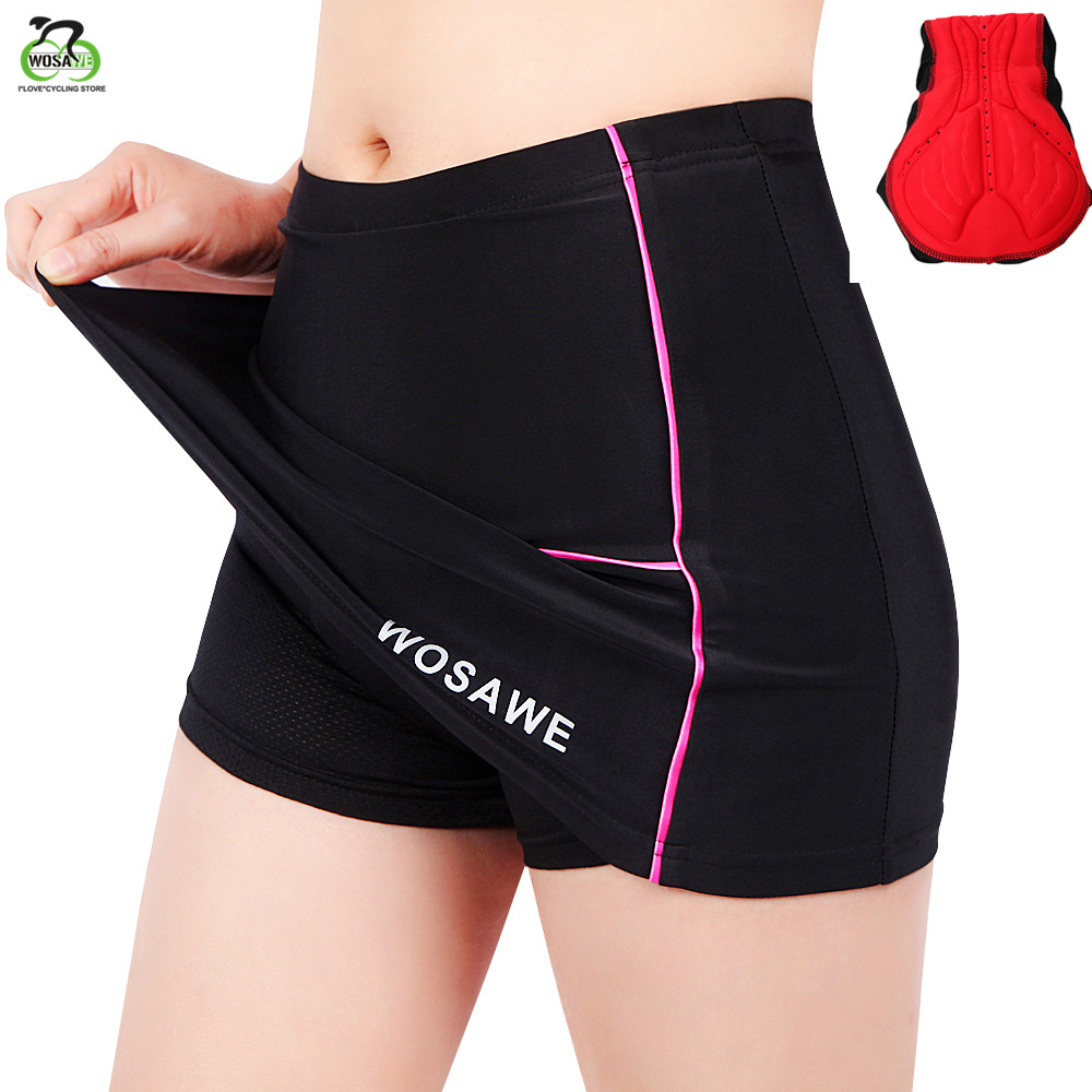 WOSAWE Cycling shorts ladies With 4D Silicone Pad Bike Short Bicycle Breathable Downhill MTB Motocross Shorts Women with Skirt