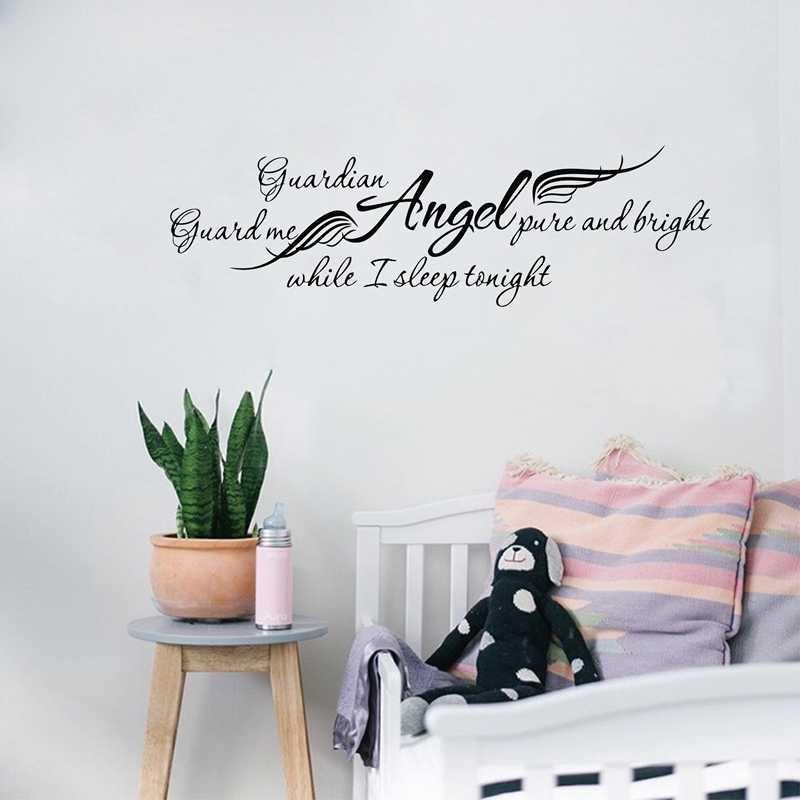 Guardian Angel Quote Nursery Mural Bedroom Vinyl Wall Art Sticker Decal