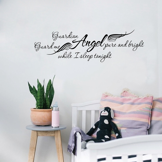 Ebay hot sellingguardian angel while i sleep removable art vinyl wall decals