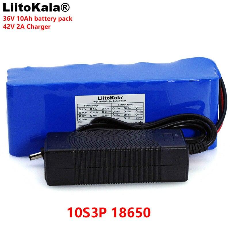 LiitoKala 36 V 10000 mAh 500 W High Power 42 V 18650 Lithium Batterij Motorfiets Elektrische Auto Fiets Scooter met BMS + 2A Charger-in Batterij pack van Consumentenelektronica op  Groep 1
