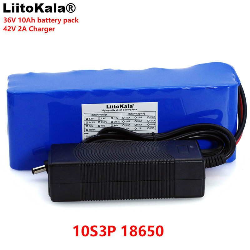 LiitoKala 36V 10000mAh 500W High Power 42V 18650 Lithium Battery Motorcycle Electric Car Bicycle Scooter with BMS + 2A Charger