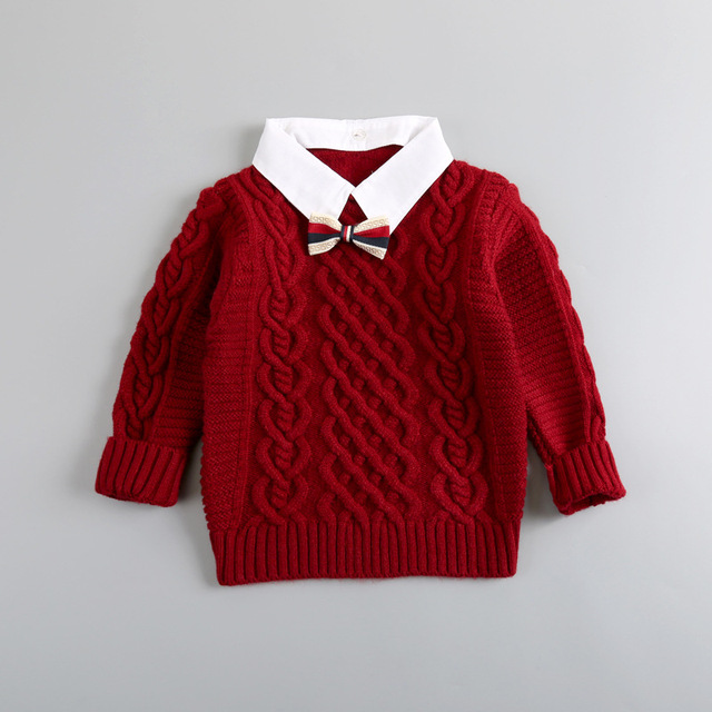 Long-sleeved turn-down collar sweater with Tie 2016 autumn cardigans new boy coat boys sweaters kids cardigan boys sweater