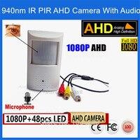 1080 P Mini IR Visione Notturna Telecamera AHD 48 Pz 940nm infrarossi 3.7mm lens 2.0 Megapixel PIR Telecamera a INFRAROSSI CCTV Pin hole AHD Mini Kamera