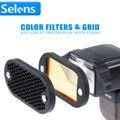 Siete color selens filtro speedlite y rejilla de nido de abeja con gel de banda magnética para canon nikon yongnuo flash kit de accesorios