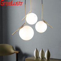 Modern Design Milk White Glass Ball Chandelier Pendant Lamps Iron Plated Glass Globle Droplight For Home Deco Led Lustre Lights