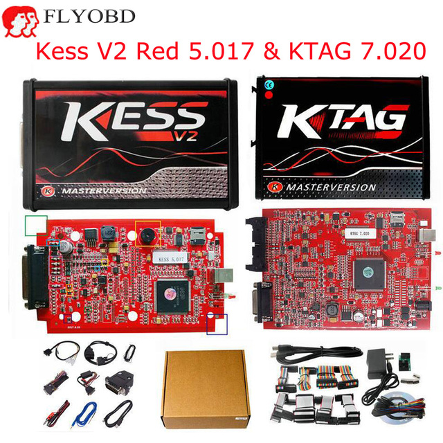 US $77 25  Red EU Online Kess V2 V5 017 Software V2 47 OBD2 Manager Tuning  Kit Red KTAG K TAG V7 020 No Token Limite Master ECU Programmer-in Car