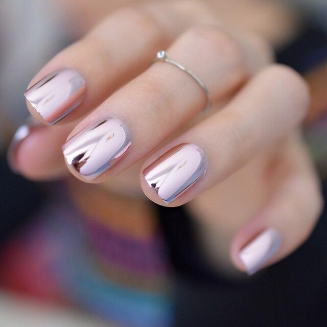 Metallic Mirror Fake Nails Normal Light Pink Ladies Shiny