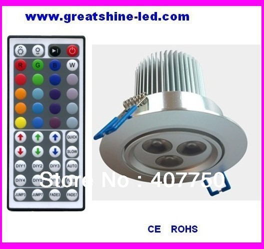 high voltage 44key IR remote rgb 3X3W led ceiling light used for indoor commercial lighting