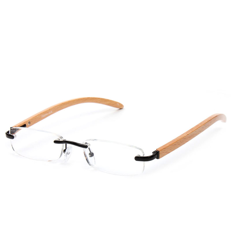 New Convenient Unisex Bamboo Wood Rimless Reading Glasses Readers Strength Presbyopic Flexible Frameless reading glasses