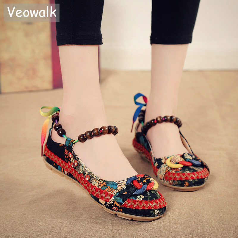 Veowalk Beaded Strap Women's Canvas Ballet Flats Colourful Back Lace up Handmade Fashion Ladies Floral Cotton Fabric Shoes