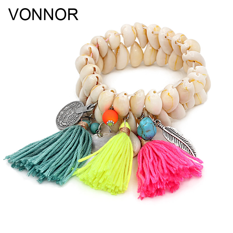 VONNOR Jewelry Bracelet for Women Shell Bracelet Tassel Alloy Pendant Bohemian Bracelets Female Girl Accessories dropshipping a suit of cute rhinestone elephants alloy bracelets for women