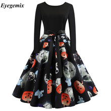 New Vintage Womens Xmas Christmas Long Sleeve Snowman Swing Evening Party Floral Dress