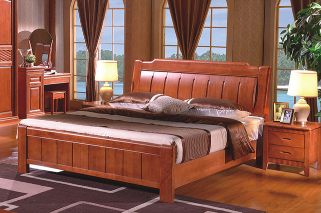 High Quality China Guangdong Furniture Solid Wood Frame Bed Bedroom Fashion Design 1 8 M Double