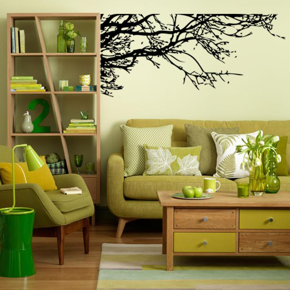 Big wall sticker black tree branch living removable vinyl for Diy tree wall mural