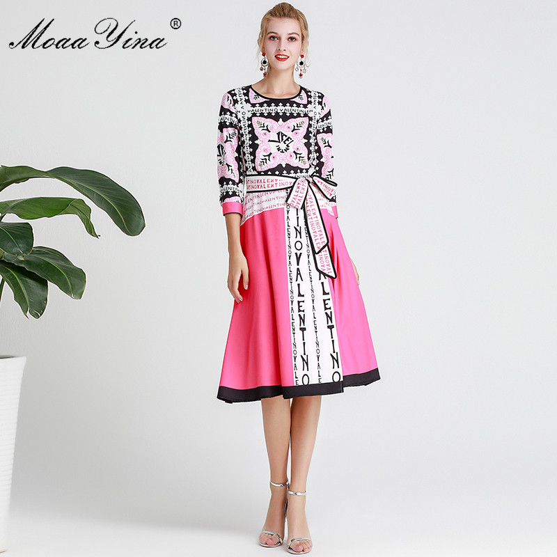 MoaaYina projektant mody pas startowy sukienka wiosna lato kobiety sukienka list drukuj elegancki Lace Up sukienki w Suknie od Odzież damska na  Grupa 1
