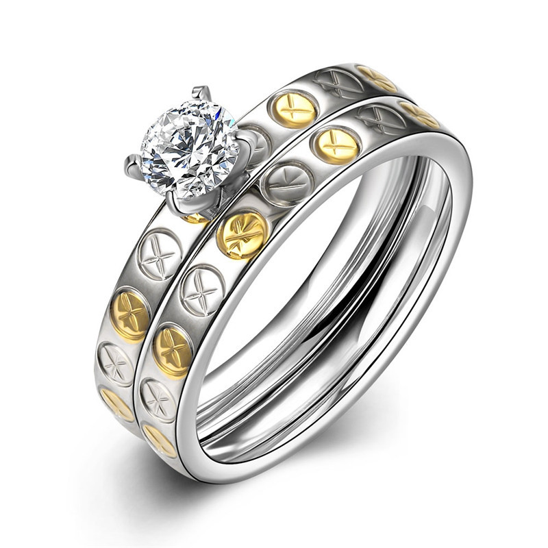 316L stainless steel double wedding ring with zircon jewelry woman Top quality romantic Valentine's Day gift R069