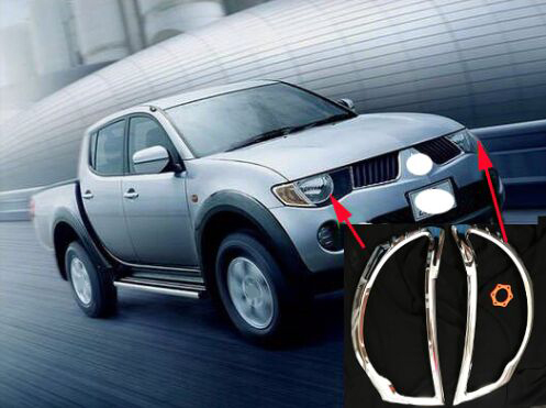 For Mitsubishi L200 triton acessories chrome headlamp cover trim fit 2006 2014 car styling accessories plate headlight parts in Bumpers from Automobiles Motorcycles