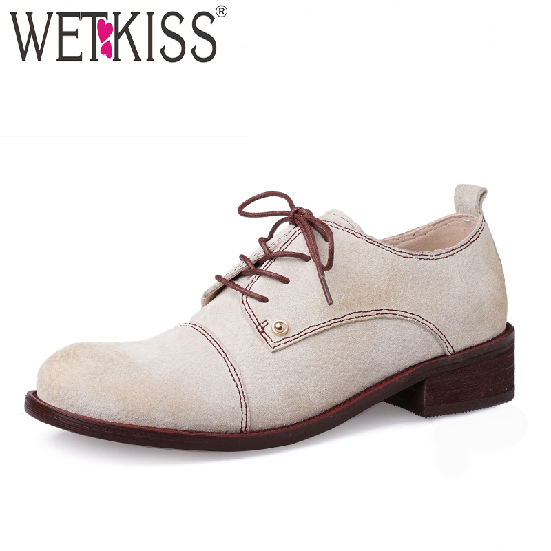 WETKISS Genuine Leather Pumps Women Lace Up Round Toe Footwear Casual Stud Shoes Female Low Heels Shoes Woman 2019 New Spring