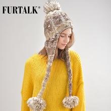 FURTALK зимняя шапка ушанка женские шапки для девочек головные уборы для женщин B007