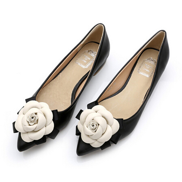 Весна 2016 марка же стиле женщины камелии цветы смешанные цвета натуральной кожи острым носом на плоской подошве леди обуви бесплатная доставка