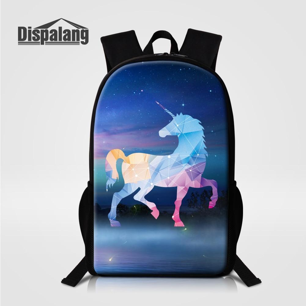 Dispalang Galaxy Universe Unicorn Printing School Bags Bookbags For Teenage Girls Diamond Patterns Backpack For Children Bagpack