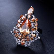 Мода красный и шампанского хрустальные камни цветные кольца