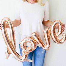 Groot formaat 108x65cm Giant Linking Champagne rood LOVE Folie Ballon Romantische bruiloft Valentijnsdag Feestartikelen Helium Globos