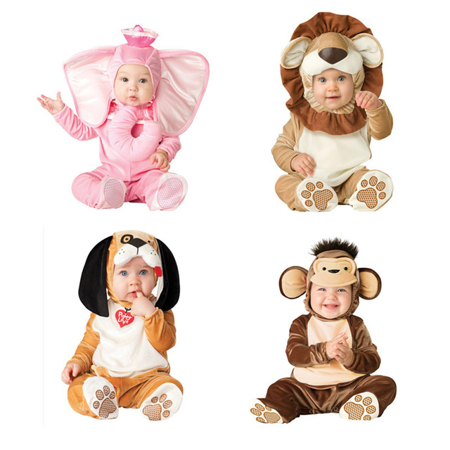 65687daf8a82 Baby Animal Costume Photo Probs Long Sleeve Romper Soft Newborn Baby Boy  Rompers Lion Monkey Dog Costume Flower Overalls