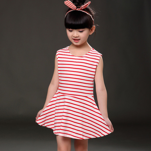 295b352f7a49 Fashion 2017 Newborn Baby Girl Toddler Infant Stripe Princess Dress ...