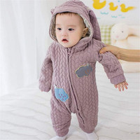 Autumn Winter baby Rompers Thick Climbing Clothes Boys Girls Knitted Sweater Cute rabbit Style Hooded Outwear For 4-24M Baby