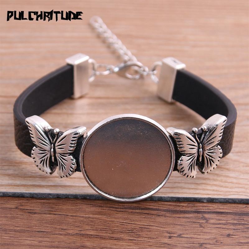 1pcs PU Butterfly Bracelets Base Setting Cuff Blank Trays Brazel Fit 25mm Glass Cameo Dome Cabochon DIY Jewelry Findings P6878
