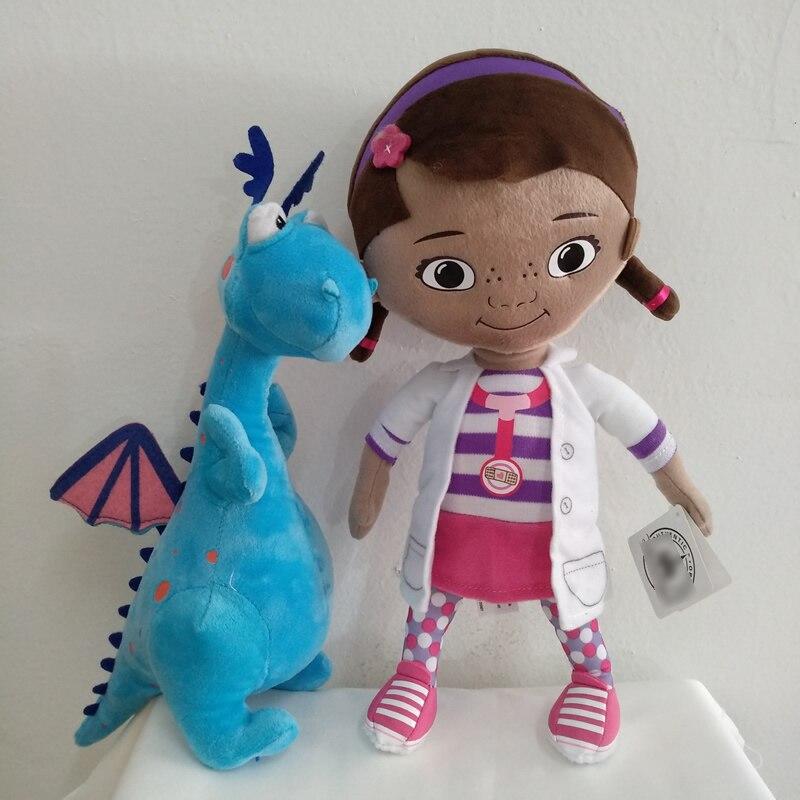 Frete grátis 32cm 12.6 original original original doc mcstuffins brinquedos de pelúcia, dottie menina e bonito dragão azul macio crianças boneca para presente de aniversário