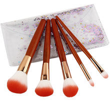 5 Imitation Mahogany Powder Foundation Eye Shadow Blush Handle Makeup Brush Eye Shadow Blush Soft Synthetic Hair Brush Set(China)