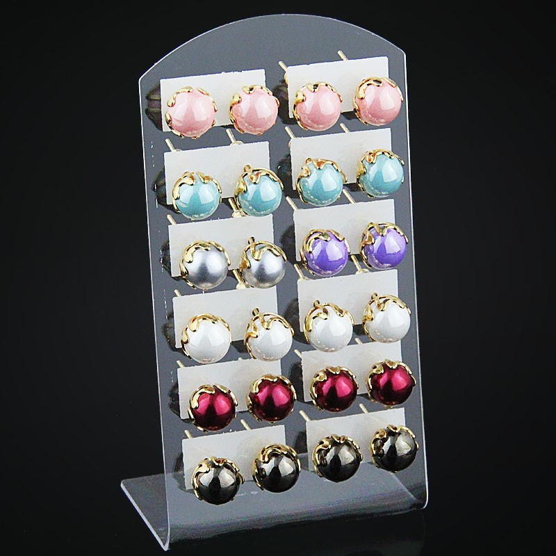 12 pairs /Lot 9 Style Earrings Set Shamballa Brand Stud Earrings Glass ball Imitation Pearls Heart Flowers Earrings For Women