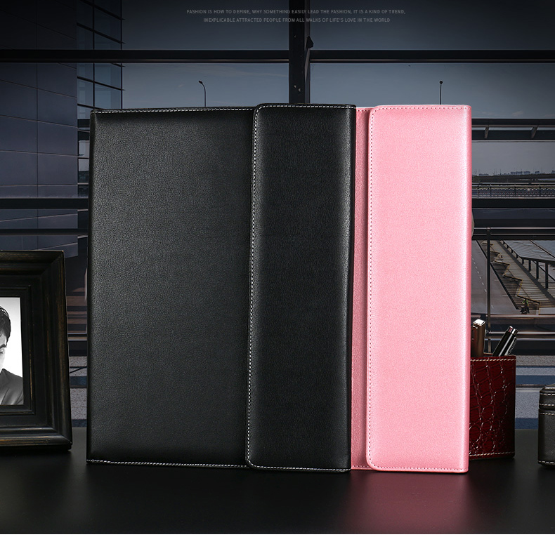 Multifunctional Business Portfolio Padfolio File Folder Document Organizer A4 PU Leather Folders Business Card Holder Note Pad