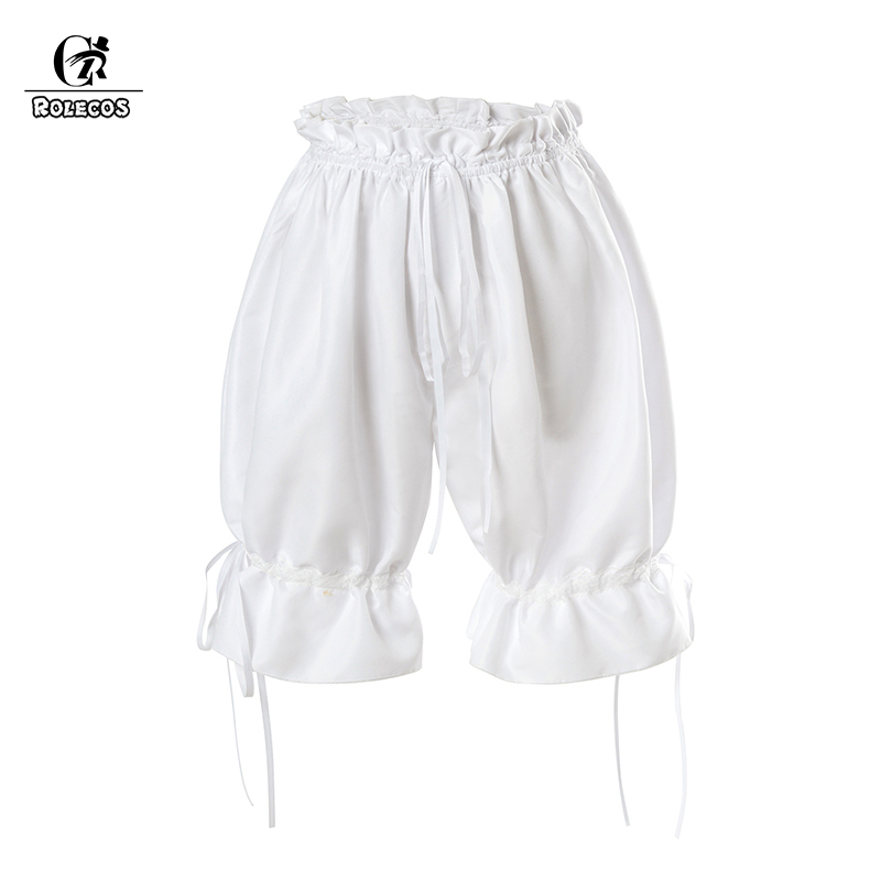 ROLECOS Women Lolita Elastic Shorts White Pumpkin Shorts Safety Pants Girl Pumpkin Bubble Bloomer Safety Under Pants