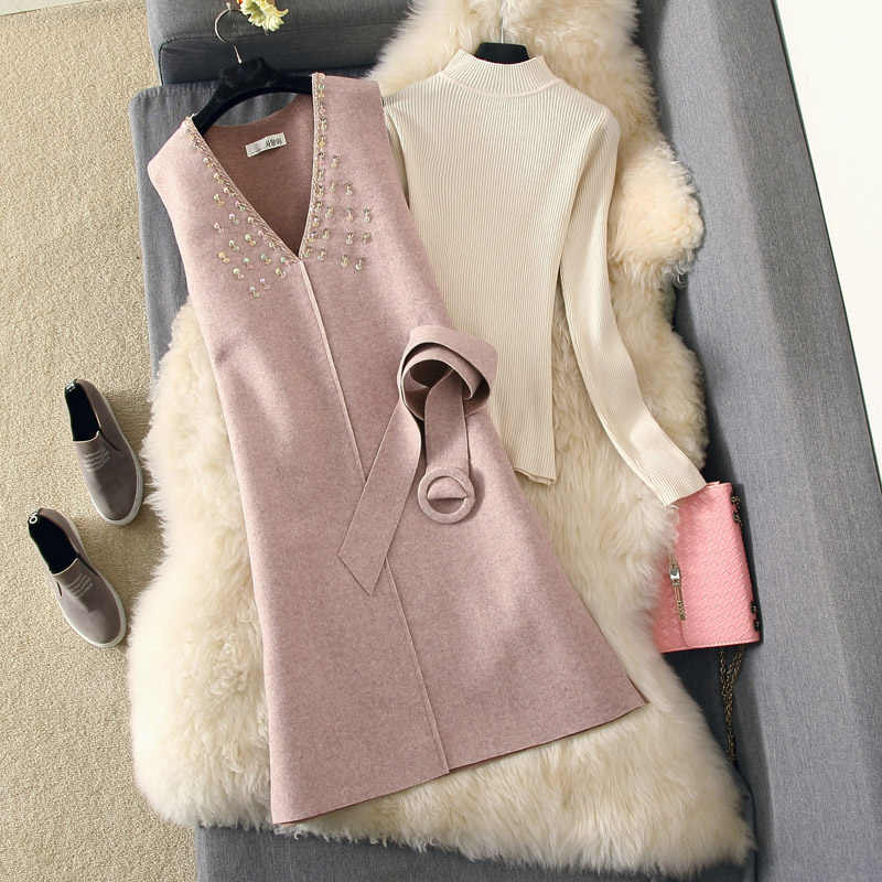 Fashion Dress Suit 2018 Fall Winter White Knit Sweater +sequin Woolen Vest Sexy Dress Two Piece Girls Elegant Party Dresses Set