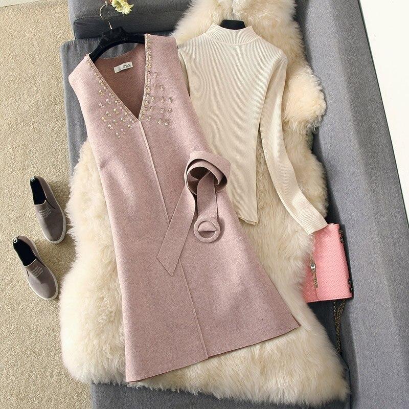 אופנה שמלת חליפת 2018 סתיו חורף לבן לסרוג סוודר + נצנצים צמר אפוד סקסי שמלת שתי חתיכה בנות אלגנטי מפלגה שמלות סט