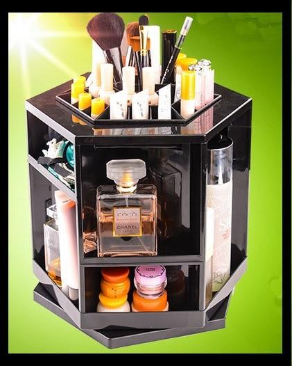 360c tourner autour de l'organisateur de maquillage de haute qualité en plastique boîte de rangement cosmétique organisateur boîtes