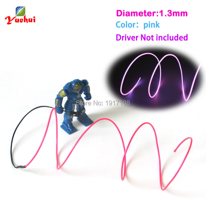10 Color Choice 1.3mm Pink EL Wire Rope Tube Flexible Neon Light Not Include The Controller For Toys Craft Party Decoration