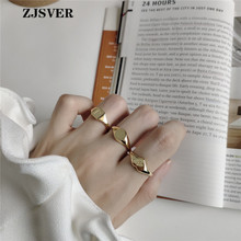 ZJSVER 925 Sterling Silver Jewelry Ring Gold Color Fashion Korean Style Geometric Letter Couple Rings Anniversary Present