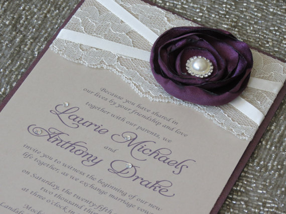 Plum Champagne Lace Wedding Invitation Purple Flower Ivory