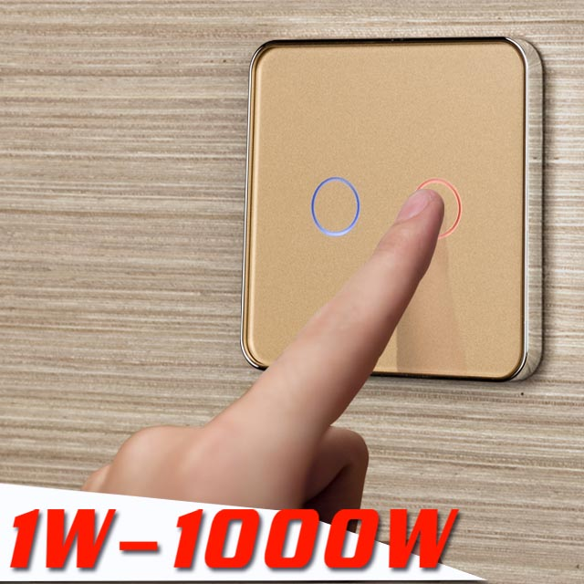 Jiubei Golden Crystal Glass Switch Panel EU Standard Wall Switch AC 220 250V SC C702 13 in Switches from Lights Lighting