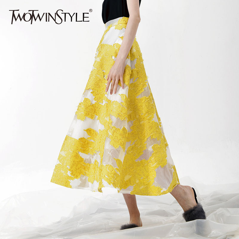 TWOTWINSTYLE Embroidery Skirt For Women Mesh Patchwork High Waist Zipper Long Skirts Female Elegant Large Size Spring Clothing