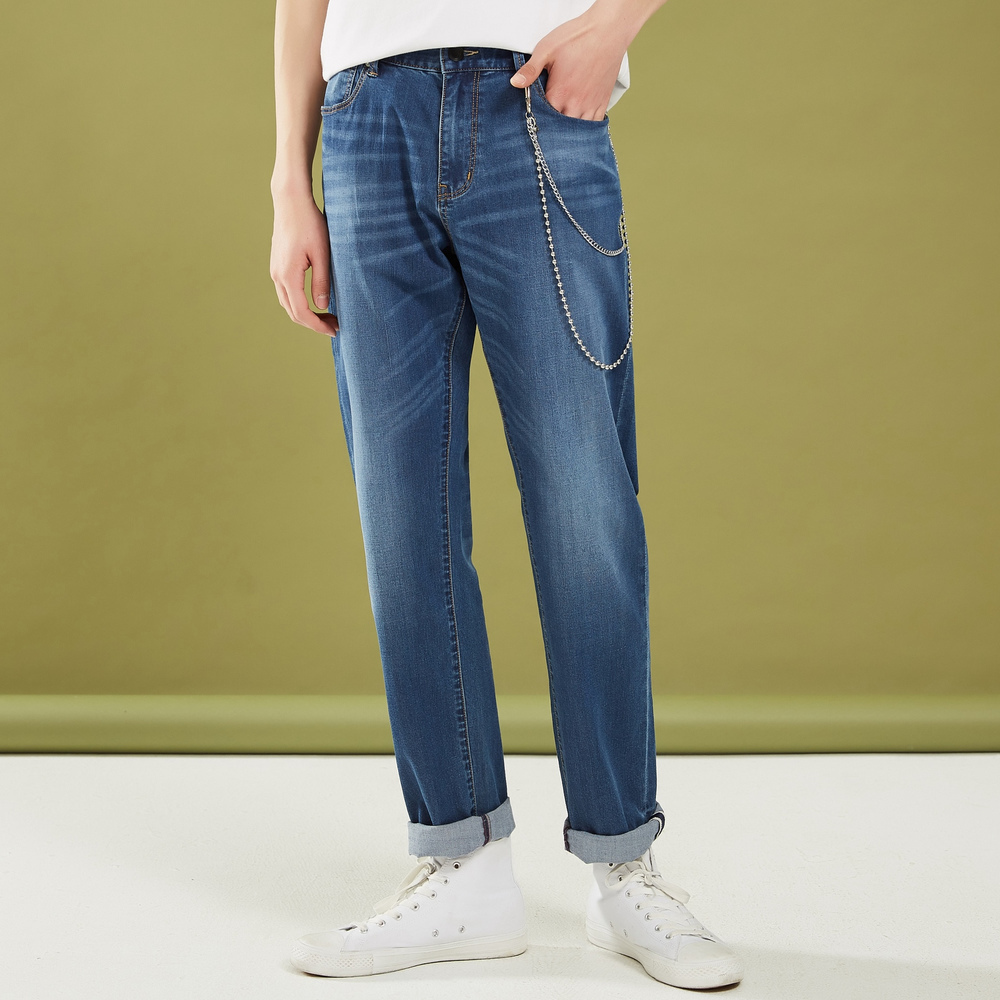 Metersbonwe Straight Jeans Men 2019 Summer New Casual Youth Trend Loose Ankle-length Elasticity Pants Men